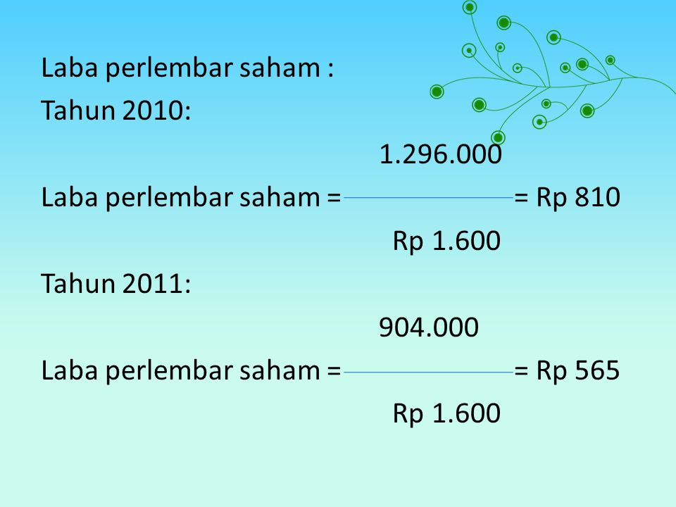Laba perlembar saham : Tahun 2010: 1. 296
