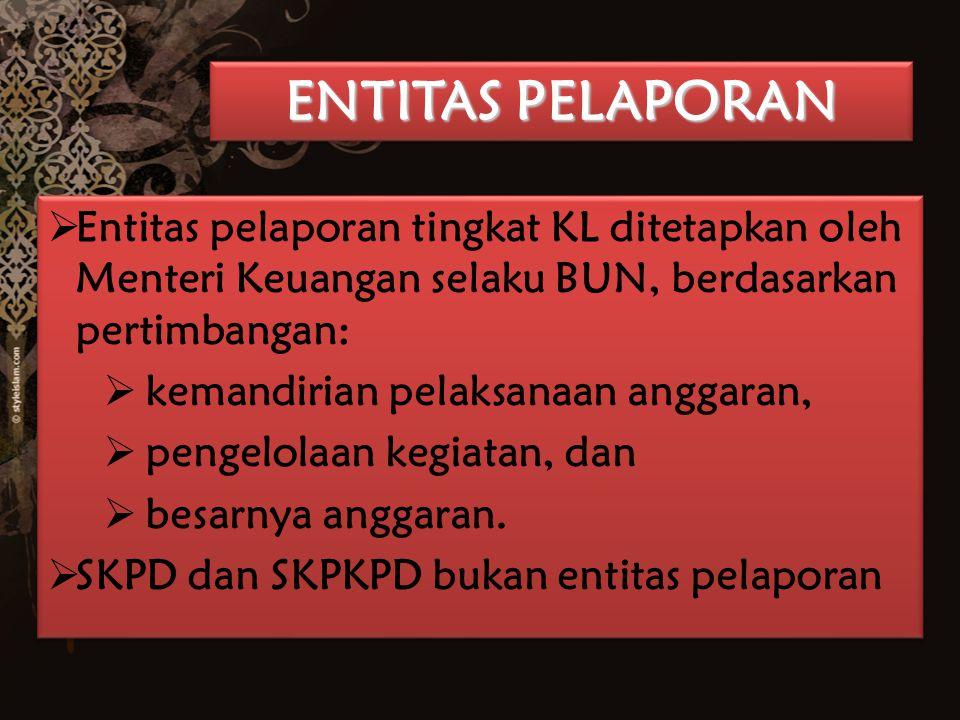 ENTITAS PELAPORAN Entitas pelaporan tingkat KL ditetapkan oleh Menteri Keuangan selaku BUN, berdasarkan pertimbangan: