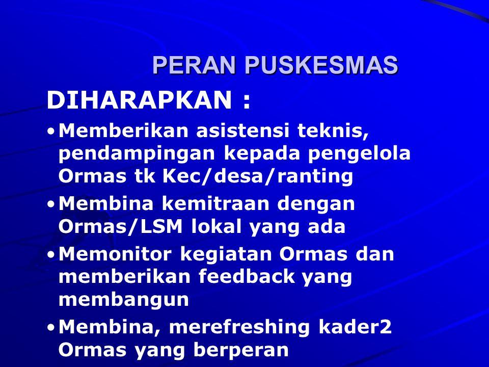 PERAN PUSKESMAS DIHARAPKAN :