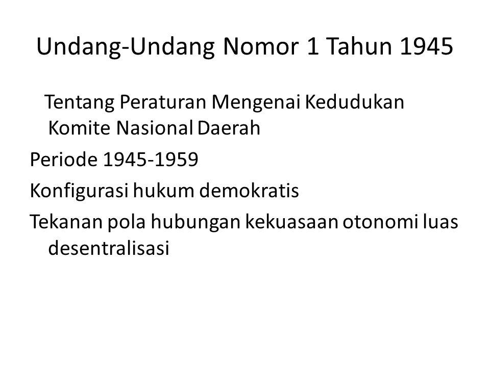 Undang-Undang Nomor 1 Tahun 1945
