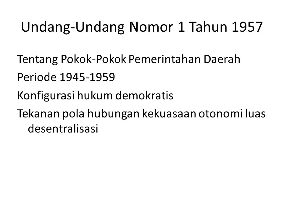Undang-Undang Nomor 1 Tahun 1957