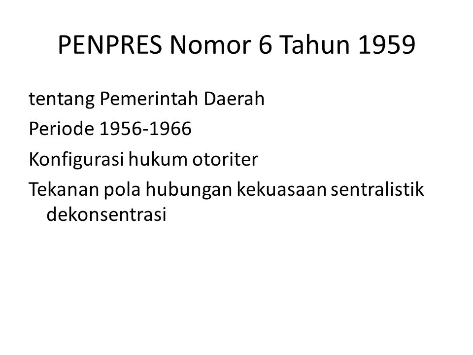 PENPRES Nomor 6 Tahun 1959