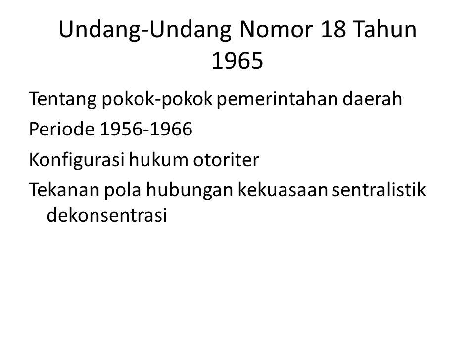 Undang-Undang Nomor 18 Tahun 1965