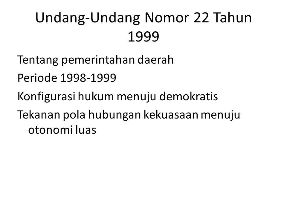 Undang-Undang Nomor 22 Tahun 1999