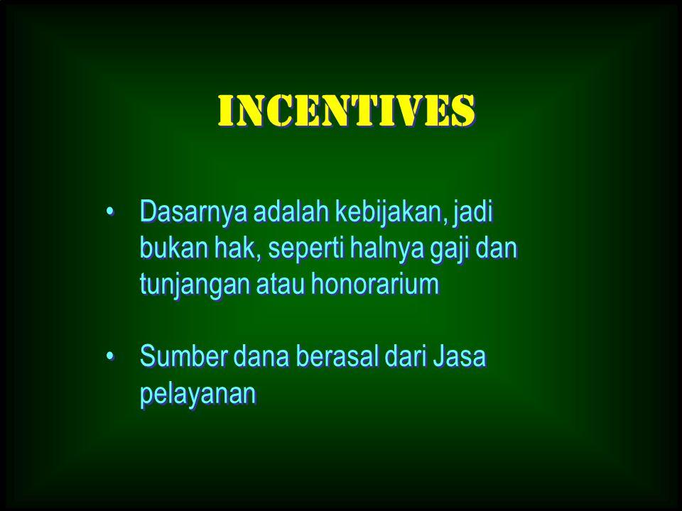 Incentives Dasarnya adalah kebijakan, jadi bukan hak, seperti halnya gaji dan tunjangan atau honorarium.