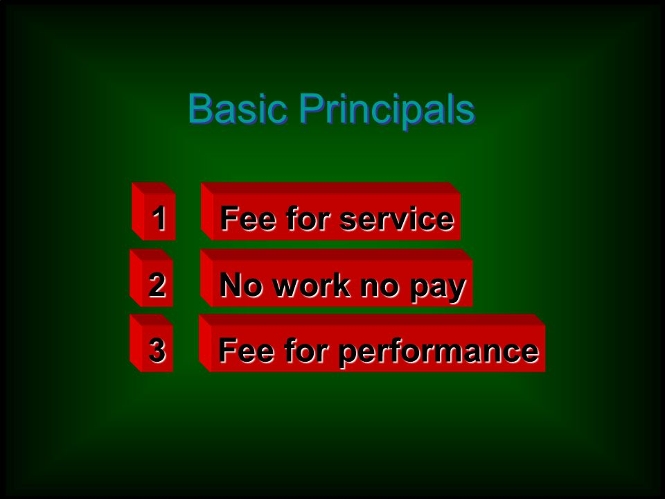 Basic Principals 1 Fee for service 2 No work no pay 3