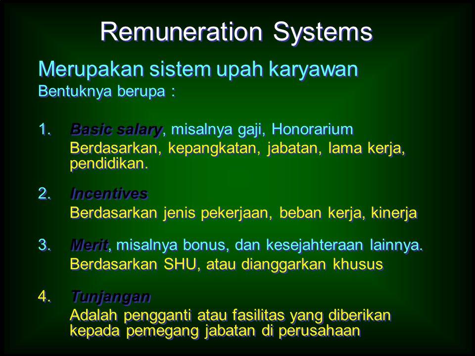 Remuneration Systems Merupakan sistem upah karyawan Bentuknya berupa :