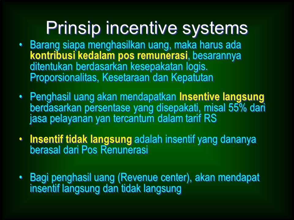 Prinsip incentive systems