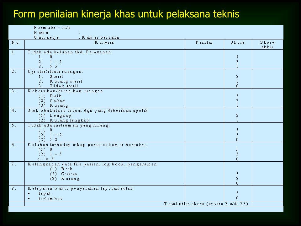 Form penilaian kinerja khas untuk pelaksana teknis