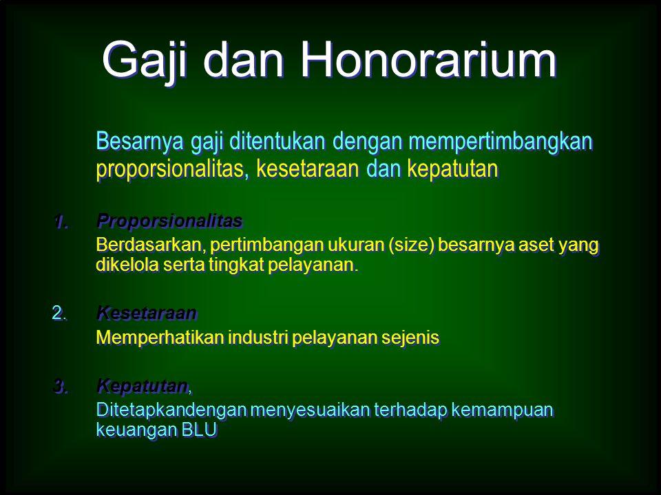 Gaji dan Honorarium Besarnya gaji ditentukan dengan mempertimbangkan proporsionalitas, kesetaraan dan kepatutan.