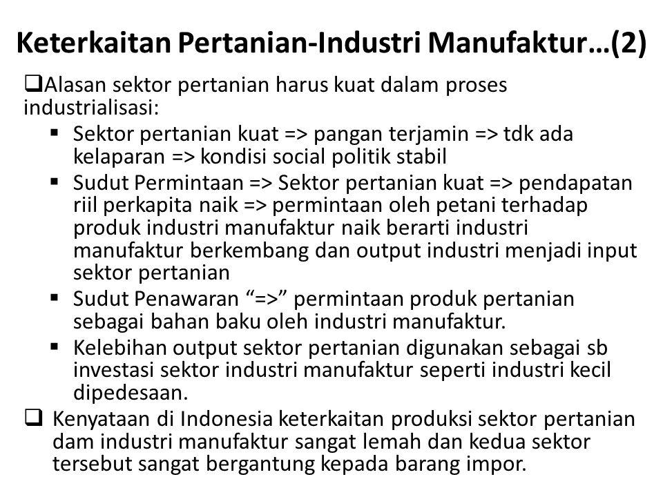 Keterkaitan Pertanian-Industri Manufaktur…(2)