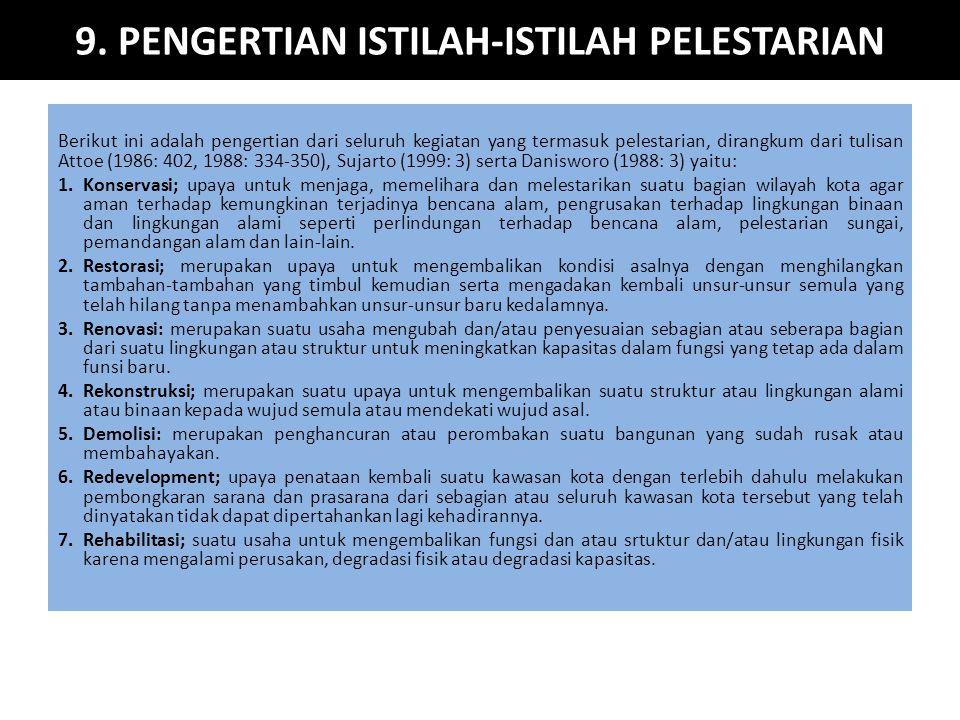 9. PENGERTIAN ISTILAH-ISTILAH PELESTARIAN