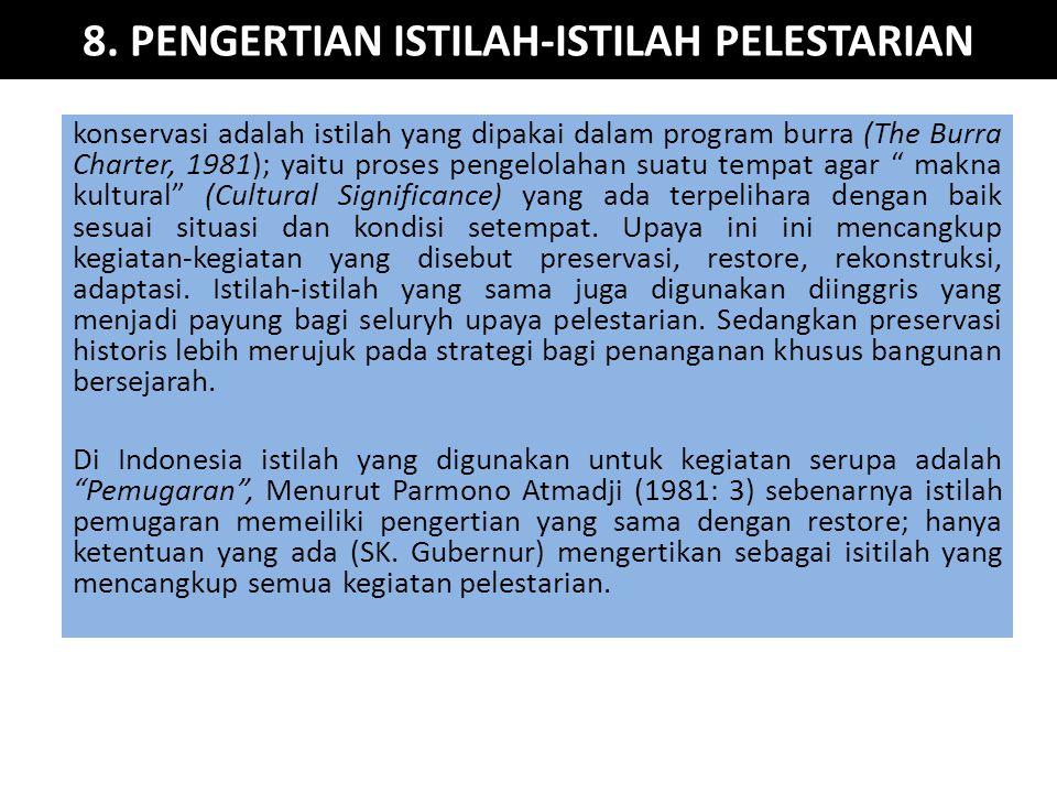 8. PENGERTIAN ISTILAH-ISTILAH PELESTARIAN