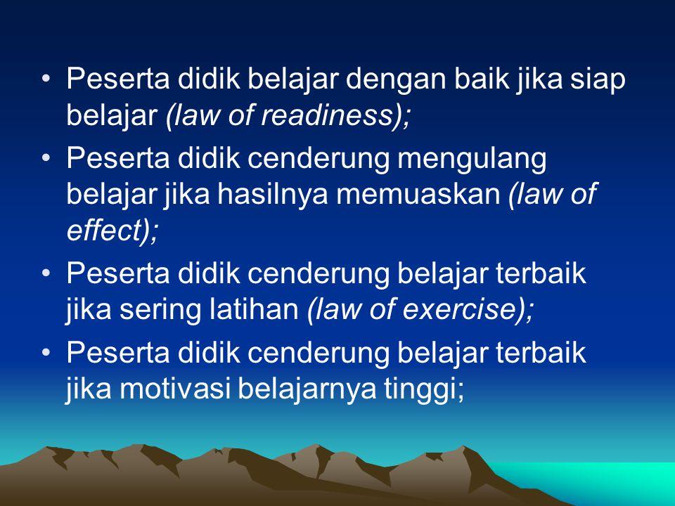 Peserta didik belajar dengan baik jika siap belajar (law of readiness);