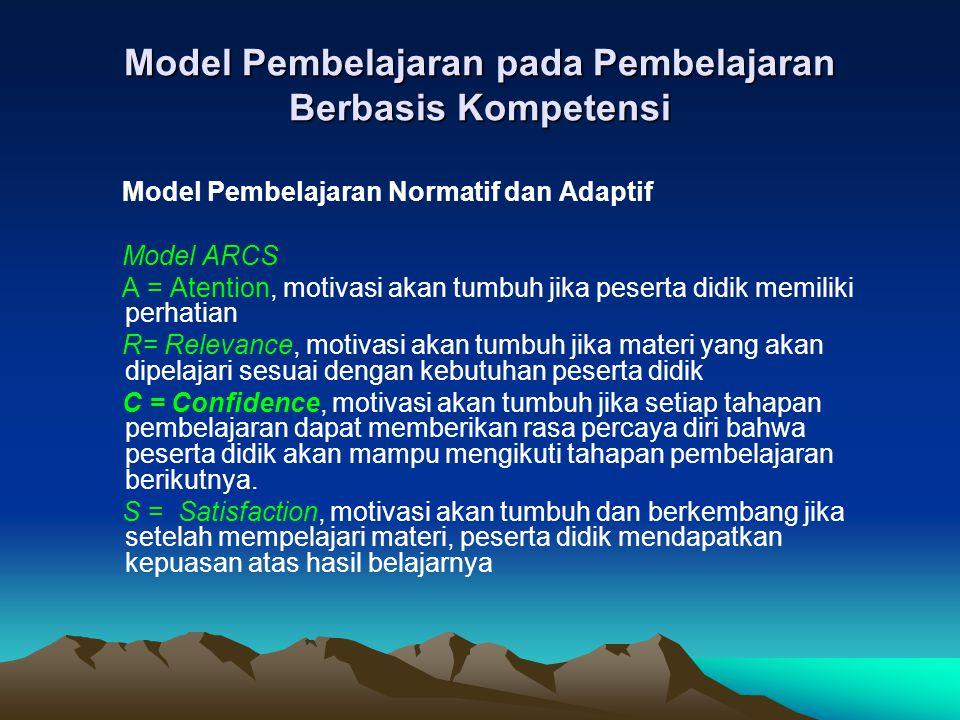 Model Pembelajaran pada Pembelajaran Berbasis Kompetensi
