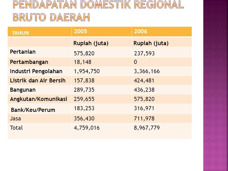 Pendapatan Domestik Regional Bruto Daerah