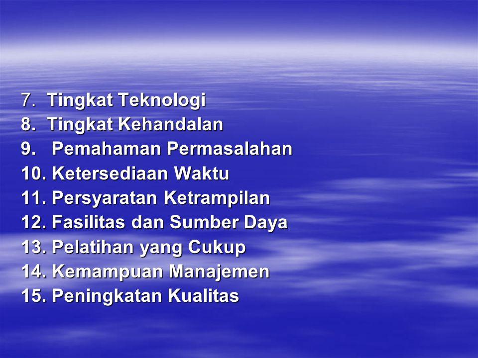 7. Tingkat Teknologi 8. Tingkat Kehandalan. 9. Pemahaman Permasalahan. 10. Ketersediaan Waktu.
