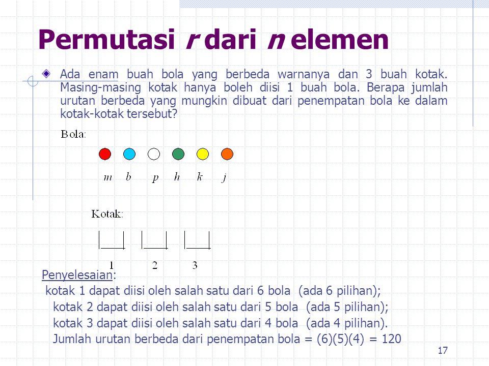 Permutasi r dari n elemen