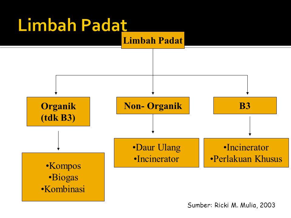 Limbah Padat Limbah Padat Organik (tdk B3) Non- Organik B3 Daur Ulang
