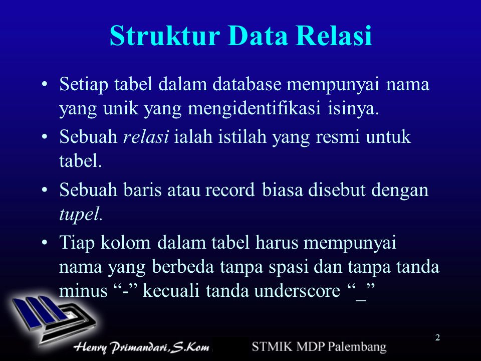 Struktur Data Relasi Setiap tabel dalam database mempunyai nama yang unik yang mengidentifikasi isinya.