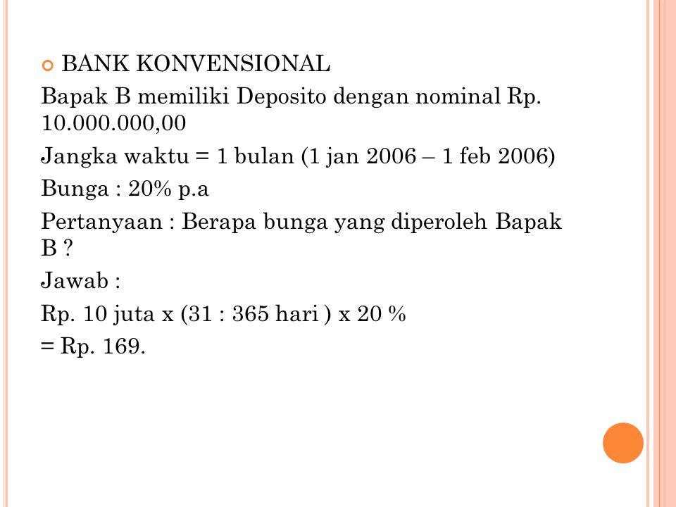 BANK KONVENSIONAL Bapak B memiliki Deposito dengan nominal Rp. 10.000.000,00. Jangka waktu = 1 bulan (1 jan 2006 – 1 feb 2006)