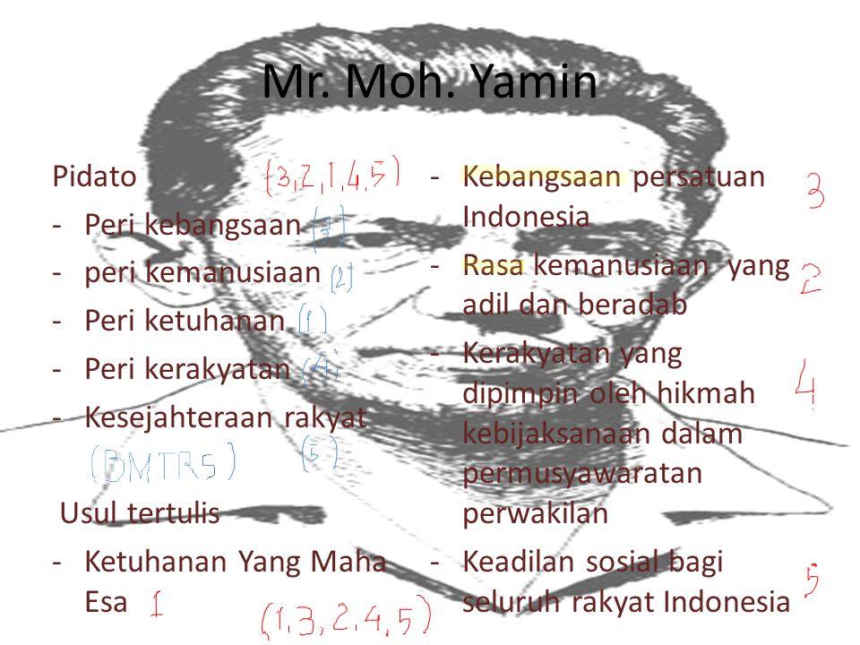 Mr. Moh. Yamin Pidato Kebangsaan persatuan Indonesia Peri kebangsaan