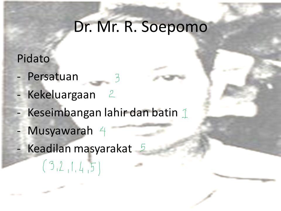 Dr. Mr. R. Soepomo Pidato Persatuan Kekeluargaan