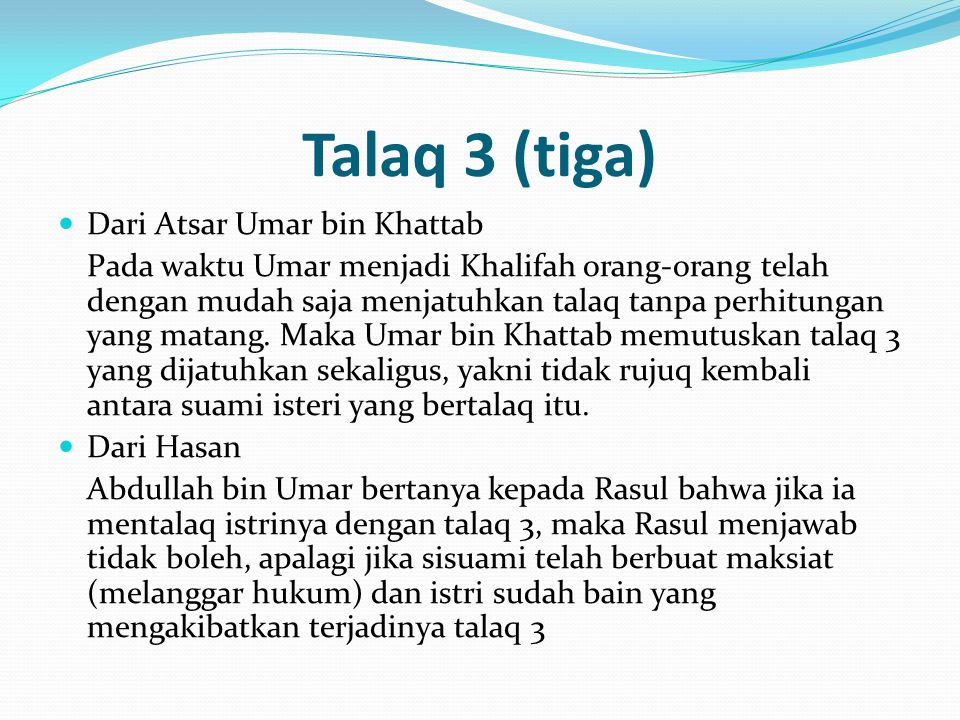 Talaq 3 (tiga) Dari Atsar Umar bin Khattab