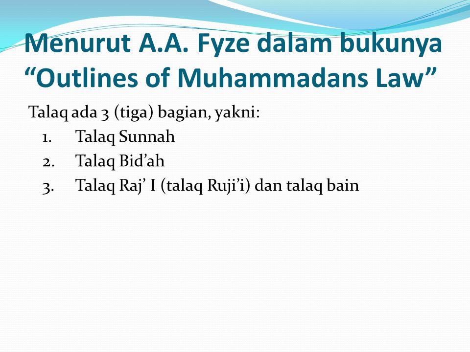 Menurut A.A. Fyze dalam bukunya Outlines of Muhammadans Law