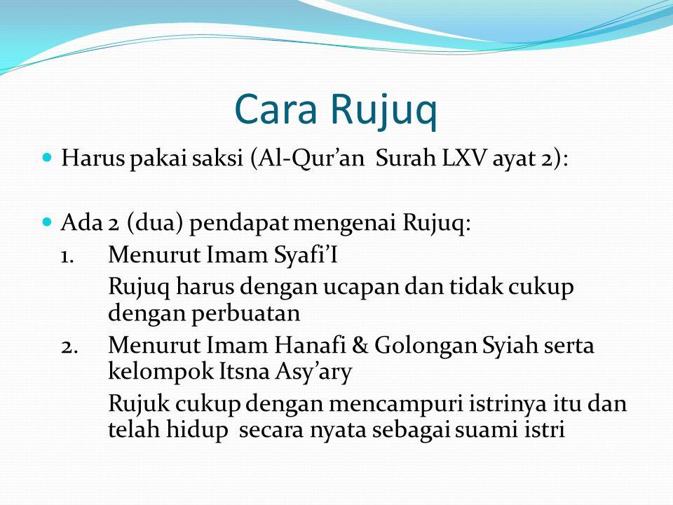 Cara Rujuq Harus pakai saksi (Al-Qur'an Surah LXV ayat 2):
