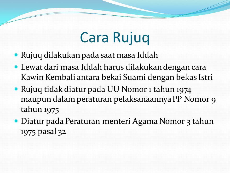 Cara Rujuq Rujuq dilakukan pada saat masa Iddah