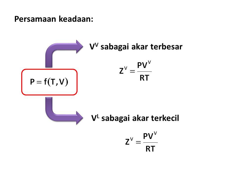 Persamaan keadaan: VV sabagai akar terbesar VL sabagai akar terkecil