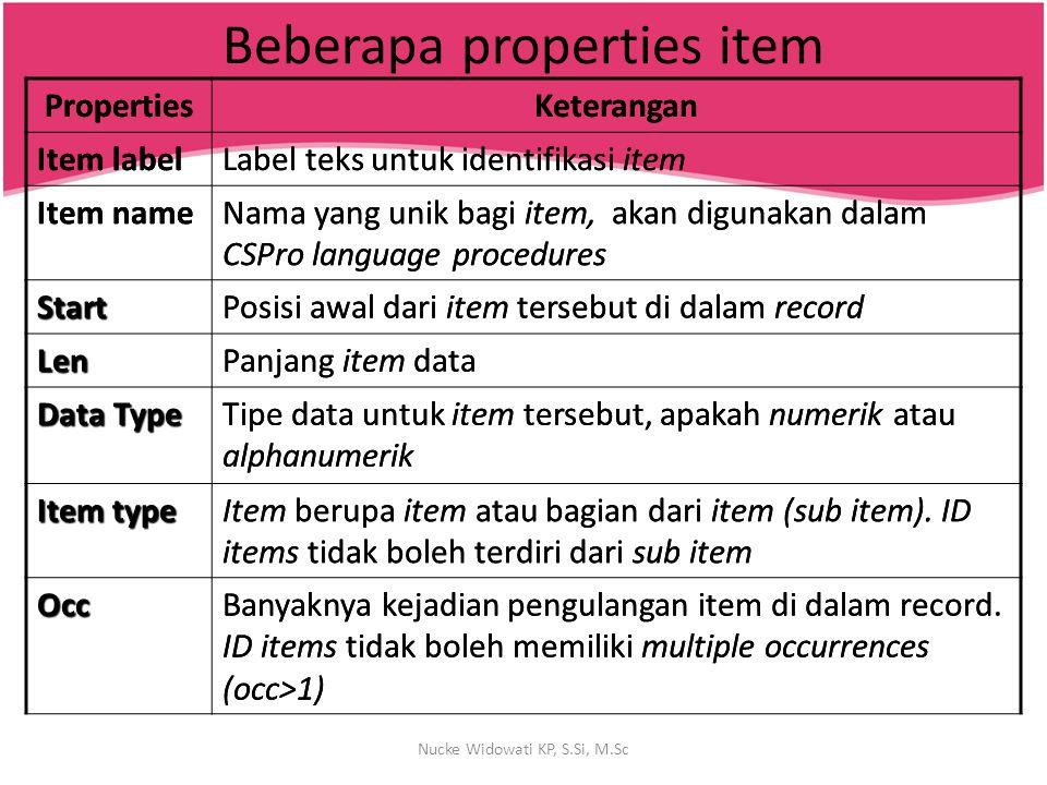 Beberapa properties item