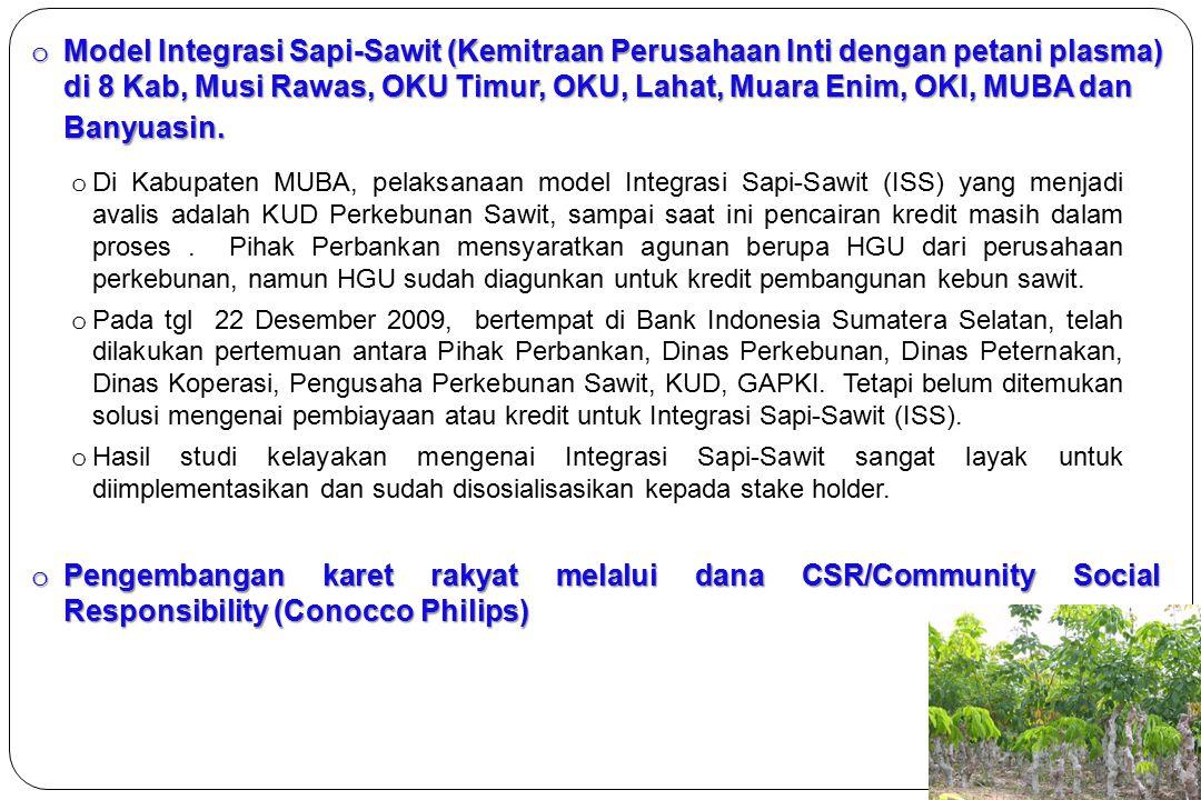 Model Integrasi Sapi-Sawit (Kemitraan Perusahaan Inti dengan petani plasma) di 8 Kab, Musi Rawas, OKU Timur, OKU, Lahat, Muara Enim, OKI, MUBA dan Banyuasin.