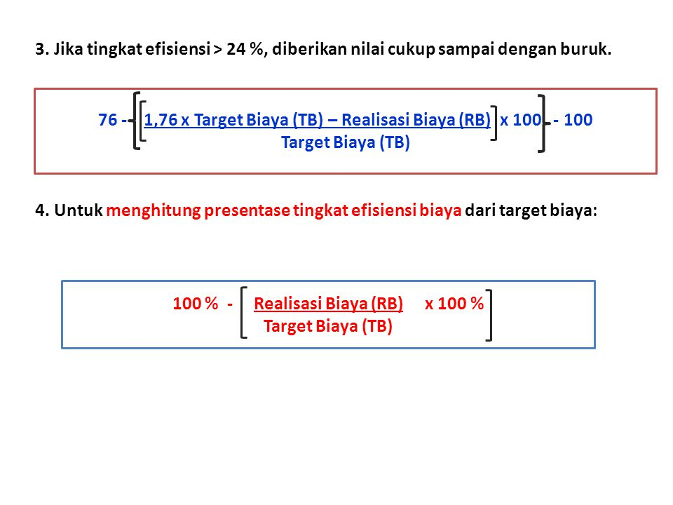 76 - 1,76 x Target Biaya (TB) – Realisasi Biaya (RB) x 100 - 100