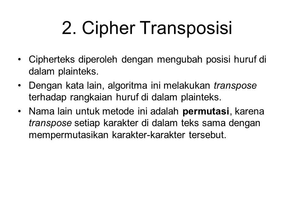 2. Cipher Transposisi Cipherteks diperoleh dengan mengubah posisi huruf di dalam plainteks.