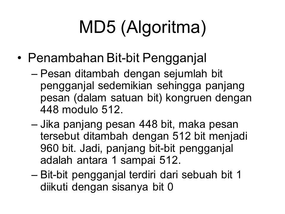 MD5 (Algoritma) Penambahan Bit-bit Pengganjal