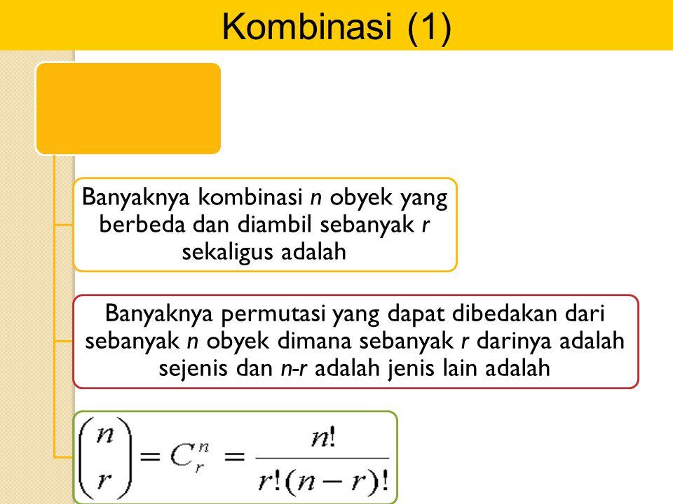 Kombinasi (1) Banyaknya kombinasi n obyek yang berbeda dan diambil sebanyak r sekaligus adalah.