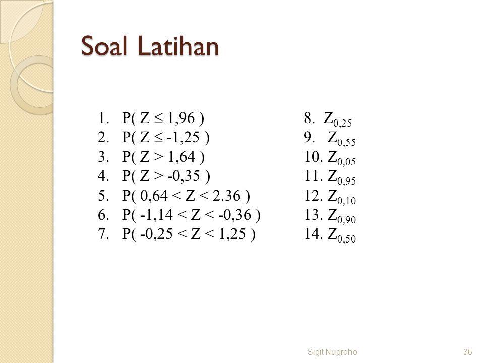 Soal Latihan P( Z  1,96 ) P( Z  -1,25 ) P( Z > 1,64 )
