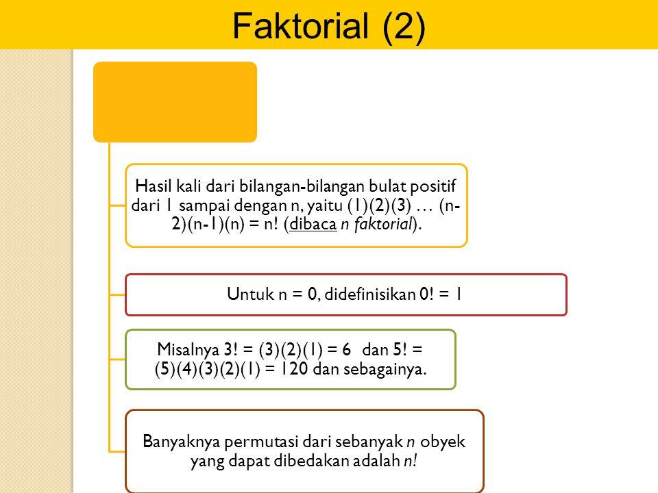 Untuk n = 0, didefinisikan 0! = 1