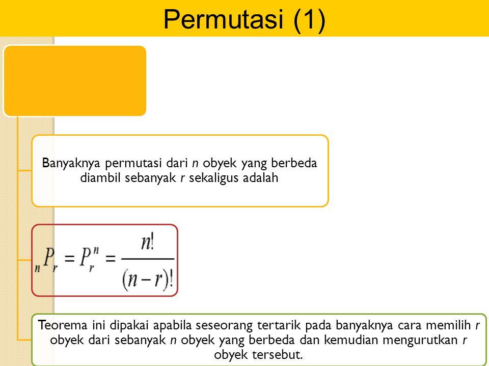 Permutasi (1) Banyaknya permutasi dari n obyek yang berbeda diambil sebanyak r sekaligus adalah.