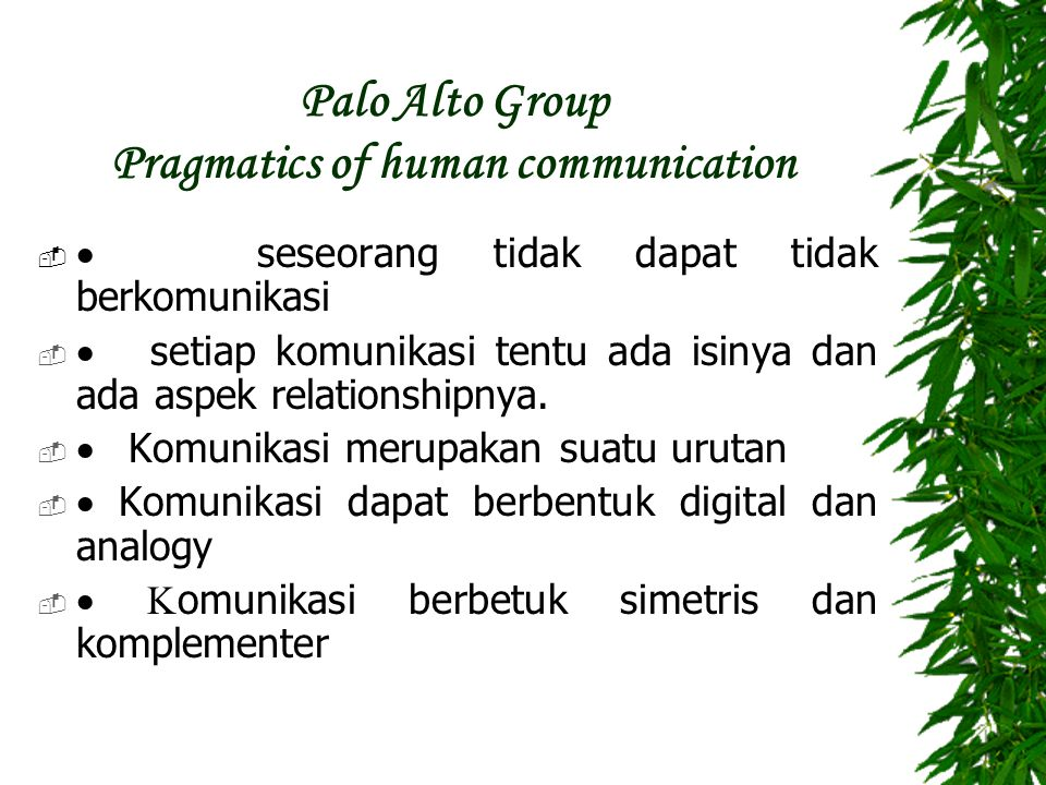 Palo Alto Group Pragmatics of human communication