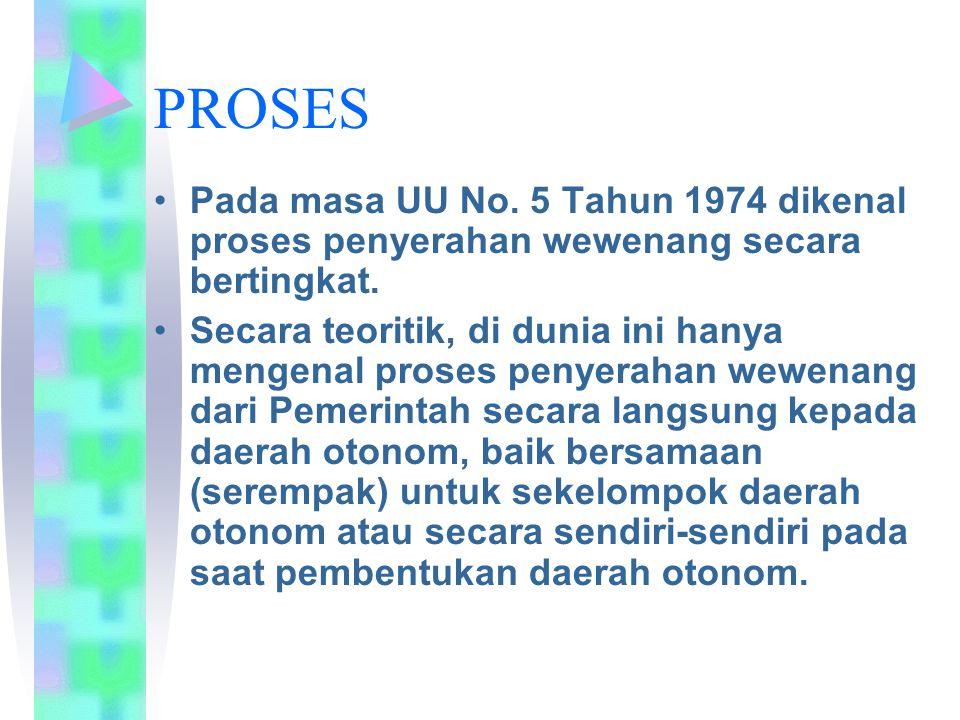 PROSES Pada masa UU No. 5 Tahun 1974 dikenal proses penyerahan wewenang secara bertingkat.