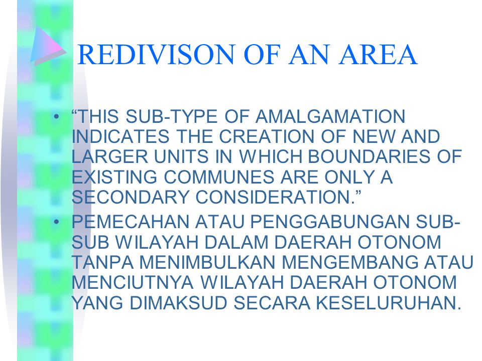 REDIVISON OF AN AREA
