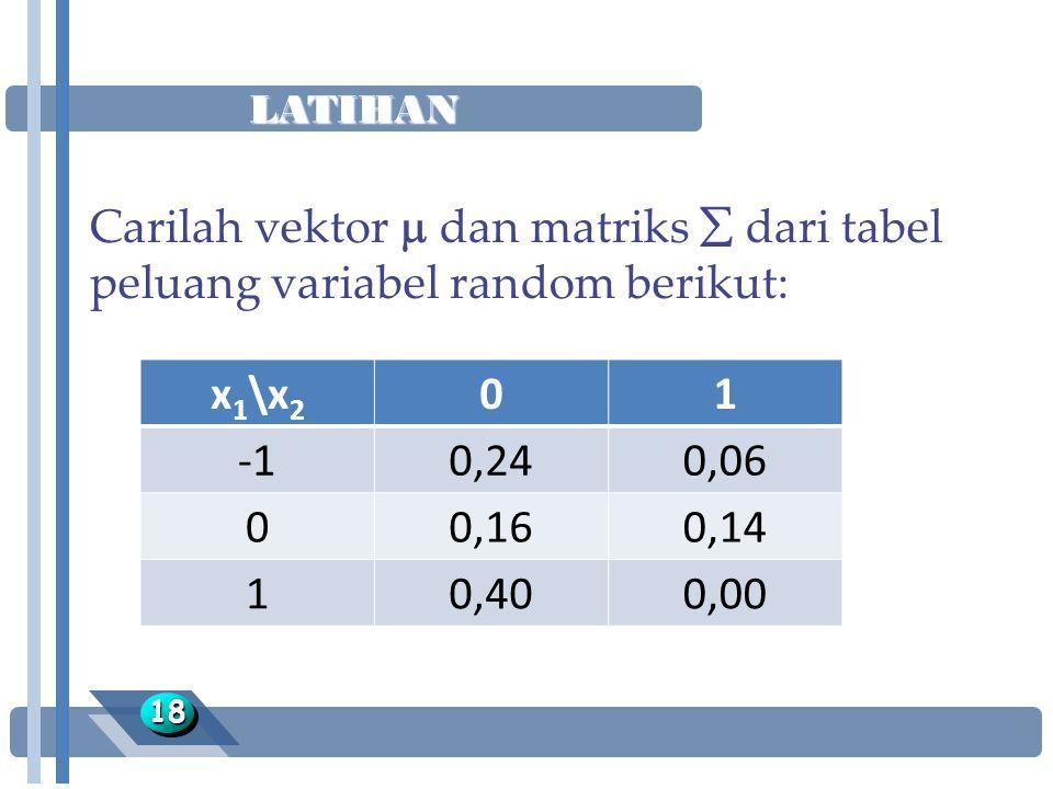 LATIHAN Carilah vektor  dan matriks  dari tabel peluang variabel random berikut: x1\x2. 1. -1.