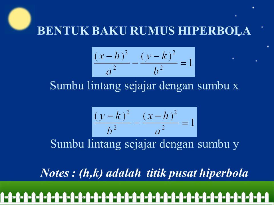 BENTUK BAKU RUMUS HIPERBOLA Sumbu lintang sejajar dengan sumbu x Sumbu lintang sejajar dengan sumbu y Notes : (h,k) adalah titik pusat hiperbola