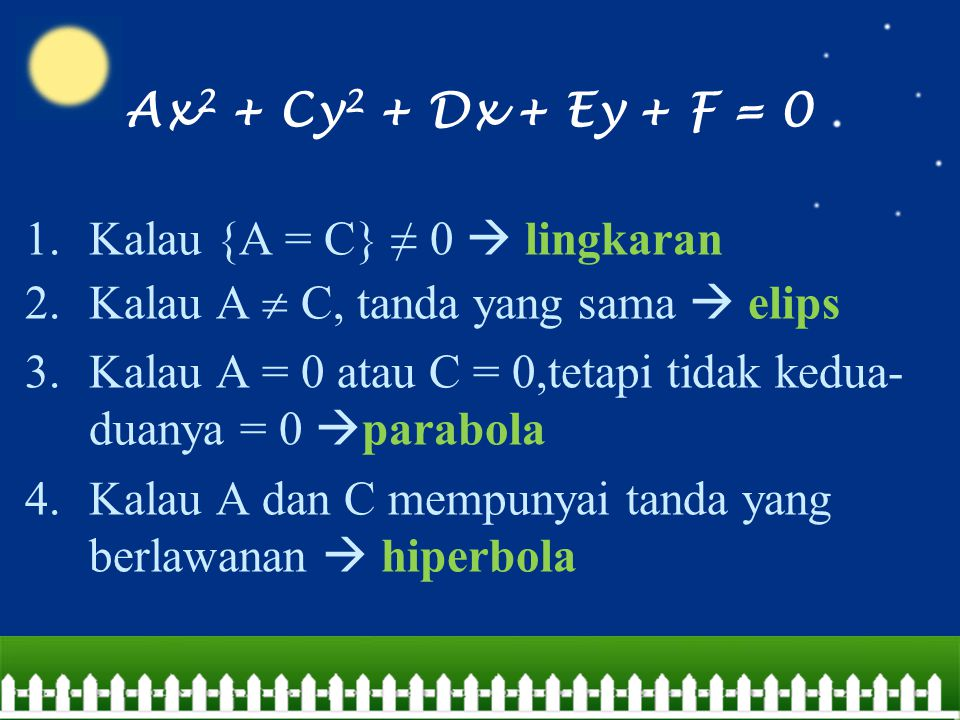 Ax2 + Cy2 + Dx + Ey + F = 0 Kalau {A = C} ≠ 0  lingkaran. Kalau A  C, tanda yang sama  elips.