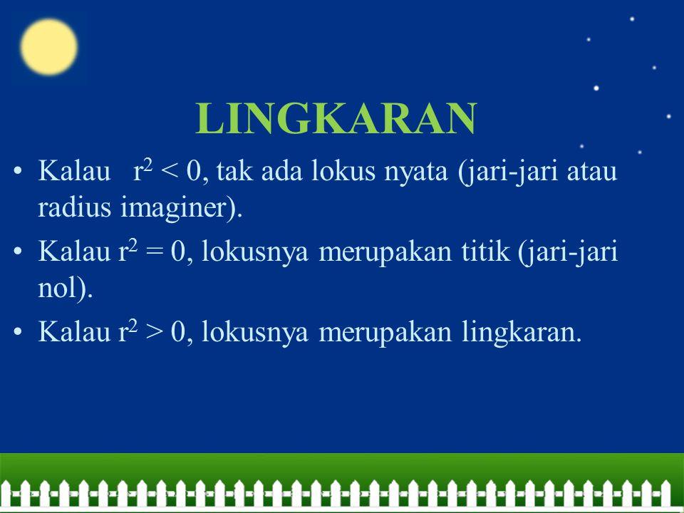 LINGKARAN Kalau r2 < 0, tak ada lokus nyata (jari-jari atau radius imaginer). Kalau r2 = 0, lokusnya merupakan titik (jari-jari nol).