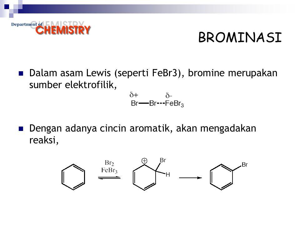 BROMINASI Dalam asam Lewis (seperti FeBr3), bromine merupakan sumber elektrofilik, Dengan adanya cincin aromatik, akan mengadakan reaksi,