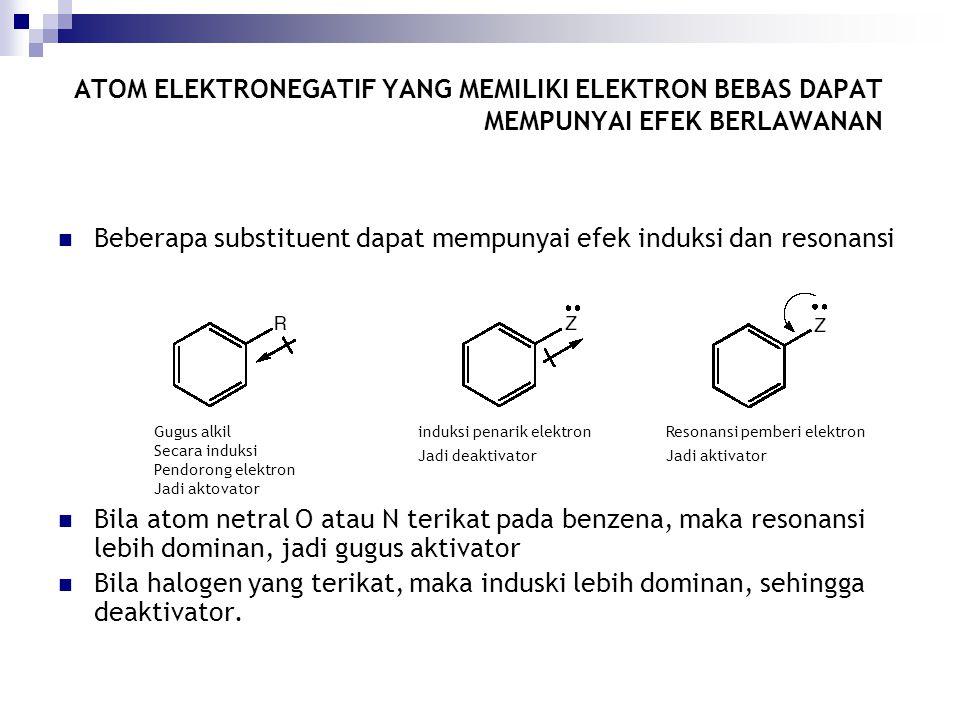Beberapa substituent dapat mempunyai efek induksi dan resonansi